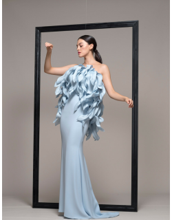 Isabel Sanchis Strapless Illusion Evening Gown