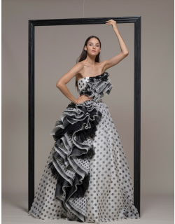 Isabel Sanchis Strapless Ruffled Polka Dot Evening Gown