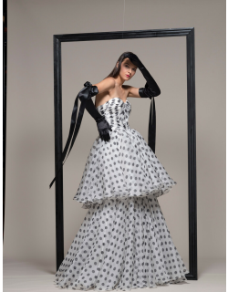 Isabel Sanchis Strapless Tiered Polka Dot Evening Gown