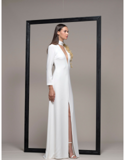 Isabel Sanchis White Long Sleeve High Neck Evening Gown
