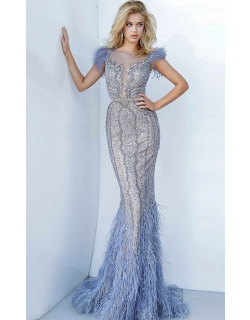 Jovani Beaded Feather Embellished Evening Gown