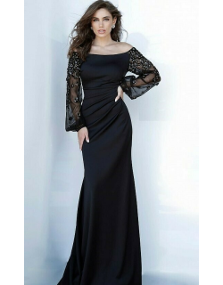 Jovani Beaded Long Sleeve Evening Gown