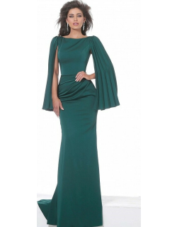 Jovani Boat Neck Ruched Waist Evening Gown