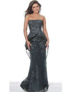 Jovani Embroidered Strapless Evening Gown