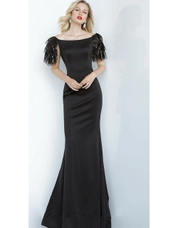 Jovani Off the Shoulder Fitted Evening Gown