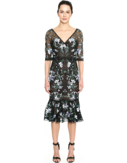 Marchesa Notte Embroidered Lattice Tulle Cocktail