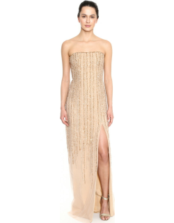 Marchesa Notte Strapless Beaded Embroidered Tulle Evening Gown