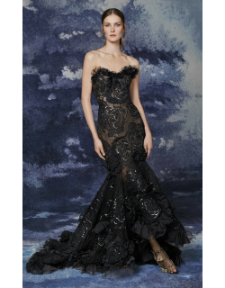 Marchesa Strapless Tulle High Low Gown