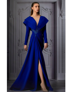 MNM Couture Long Sleeve Draped Shoulder Slit Gown