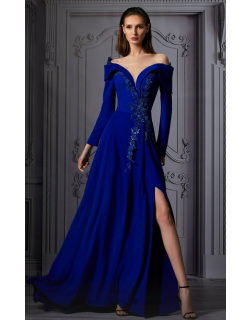 MNM Couture Long Sleeve Off Shoulder Slit Gown