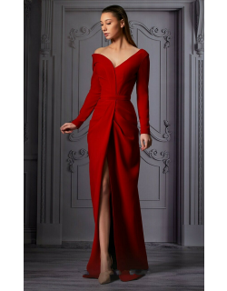 MNM Couture Off Shoulder Long Sleeve Slit Gown