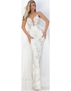 Tarik Ediz Bianca Fitted Lace Gown with Over-Skirt