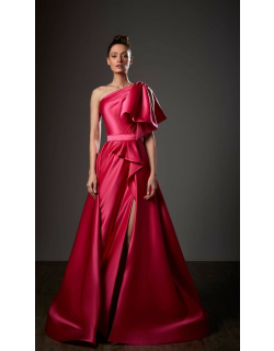 Ziad Germanos Draped One Shoulder A-Line Slit Gown
