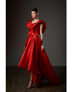 Ziad Germanos Ruffled Neck High Low Satin Gown