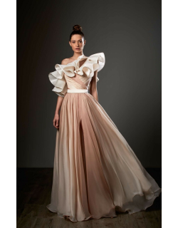 Ziad Germanos Ruffled One Shoulder Pleated Slit Gown