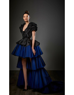 Ziad Germanos Satin and Tulle Peplum High-Low Gown