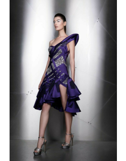 Ziad Nakad Sculpted One Shoulder Cocktail Dress