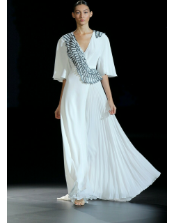 Isabel Sanchis Cabiate Pleated Short Sleeve Gown