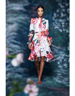 Marchesa Floral Collared Neck Long Sleeve Dress