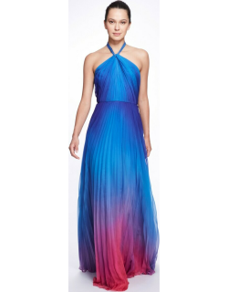 Marchesa Notte Sleeveless Halter Pleated Ombré Chiffon Gown