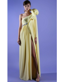 AZZI & OSTA One Shoulder Ruffled High Slit Gown with Side Cape