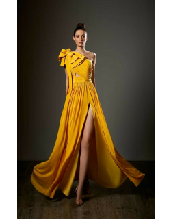 Ziad Germanos One Shoulder Structured Bow Chiffon Gown