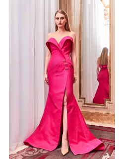 Gatti Nolli by Marwan Strapless Fit and Flare Slit Gown
