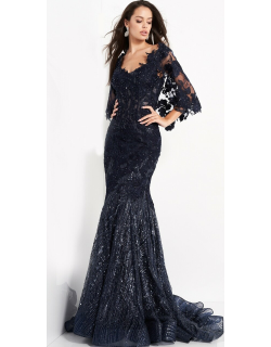 Jovani Lace Cape Sleeve Floral Embroidered Gown
