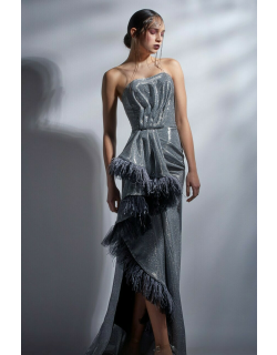 Gaby Charbachy Strapless Cascading Slit Gown