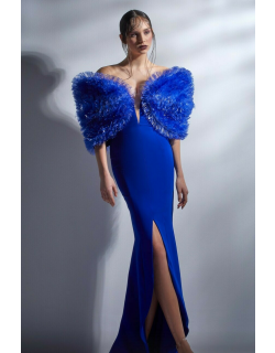 Gaby Charbachy Ruffled Off Shoulder Fitted Slit Gown