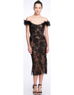 Marchesa Off the Shoulder Embroidered Tulle Cocktail Dress