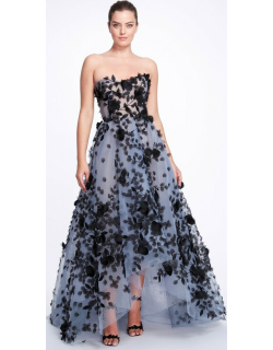 Marchesa Strapless Tulle High Low Gown with Tulle Wrap