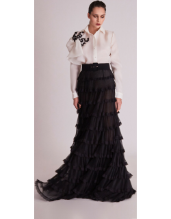 Gatti Nolli by Marwan Long Sleeve Blouse and Tiered Skirt