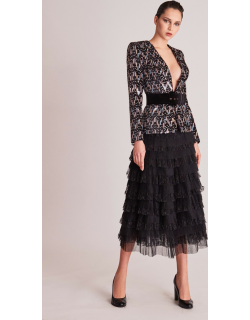 Gatti Nolli by Marwan Long Sleeve Embellished Top and Tiered Skirt