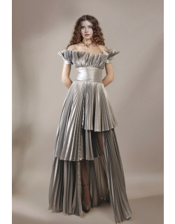 Gemy Maalouf Pleated Satin Off Shoulder Gown