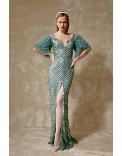 Gemy Maalouf Ruffled Sleeve Sequined Slit Gown