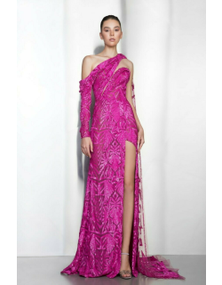 Ziad Nakad Long Sleeve One Shoulder Slit Gown