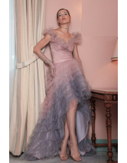 Gemy Maalouf Off the Shoulder High Low Ombre Gown