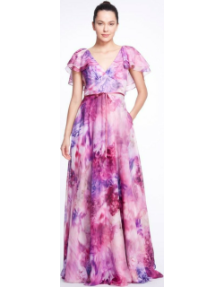 Marchesa Notte Cape Sleeve V-Neck Printed Chiffon Gown