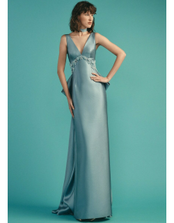 Beside Couture by GEMY V-Neck Sleeveless Evening Gown