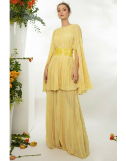 Gemy Maalouf Pleated Mousseline Top And Pants