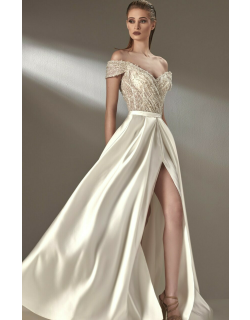 MNM Couture Embellished Off the Shoulder Gown