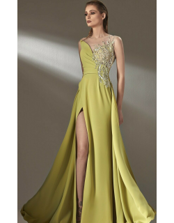 MNM Couture Illusion A-Line Slit Gown