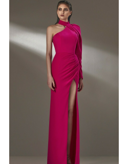 MNM Couture Long One Sleeve Column Slit Gown