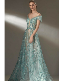MNM Couture Off Shoulder Embellished Gown