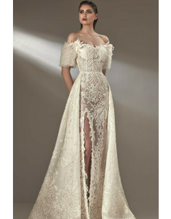 MNM Couture Off Shoulder Slit Gown