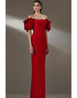 MNM Couture Off-Shoulder Column Gown