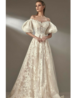 MNM Couture Puff Sleeve Off Shoulder Gown