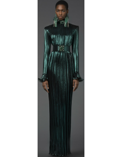 Andrew GN Pleated High Neck Long Sleeve Gown