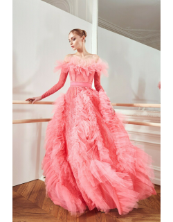 Zuhair Murad Giselle Lave Mix and Ruffles Off Shoulder Gown